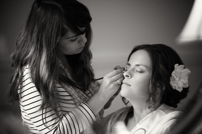 Amy having make up done