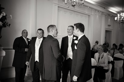 Groom and groomsmen before ceremony