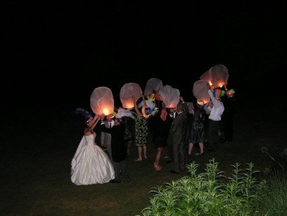 Setting off sky lanterns