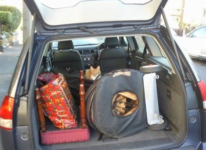 Car loaded up including cat