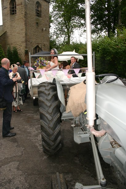Leaving church by tractor