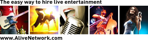 specialist live music from alive network entertainment agency, live entertainment hire