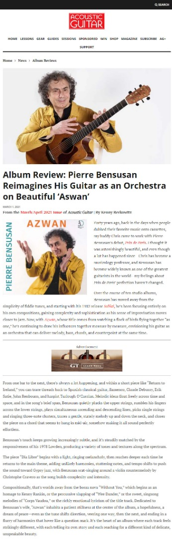 Azwan review in Acoustic Guitar magazine (US)
