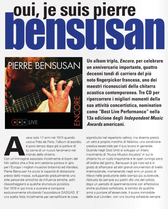 Pierre Bensusan - Chitarre Magazine Feature - Pg1