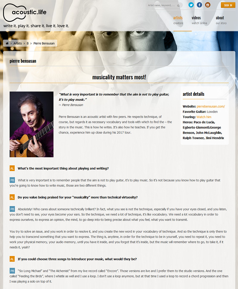 Pierre Bensusan Acoustic Life Interview - Part 1