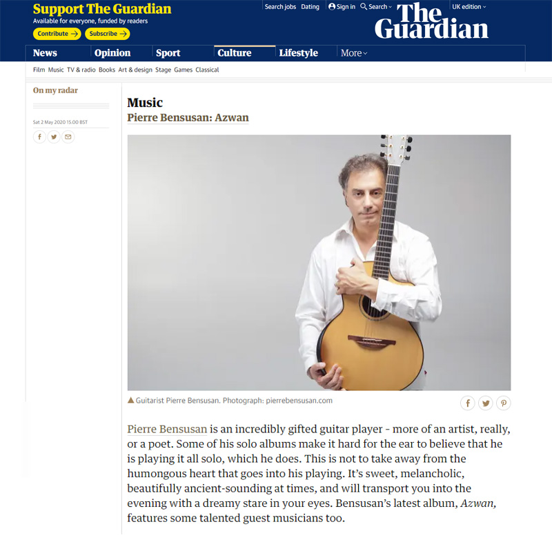 Pierre Bensusan 'Azwan' Guardian Review